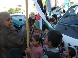 a protesta dei bambini di Ni'lin contro i massacri di civili a Gaza